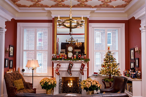 Holidays at Maury Place - Library Maury Place Innkeeper Jeff Wells loves to decorate.  photo by Tony Giammarino