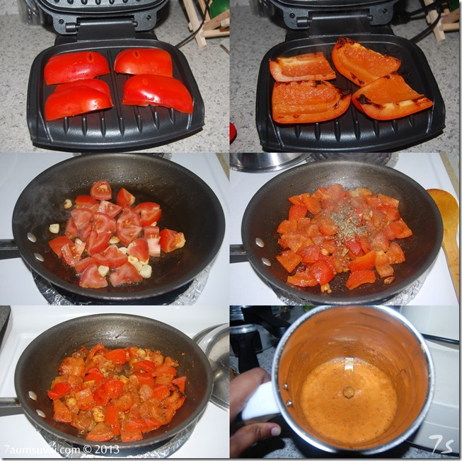 Roasted red bell pepper sauce process