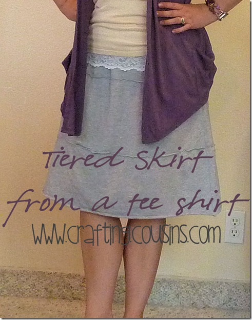 Tiered skirt from a tee shirt tutorial by the Crafty Cousins