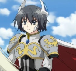 A young man in knight's armor and cape rides a stallion against a blue sky