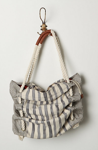 Rope is used on a lot of summer totes, but I like this bag with it's ruched look. (anthropologie.com)
