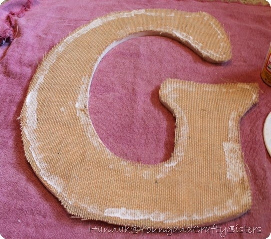 burlap and button monogrammed letter 4