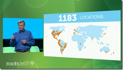 Dennis Brimhall shows map of RootsTech affiliated family history fairs
