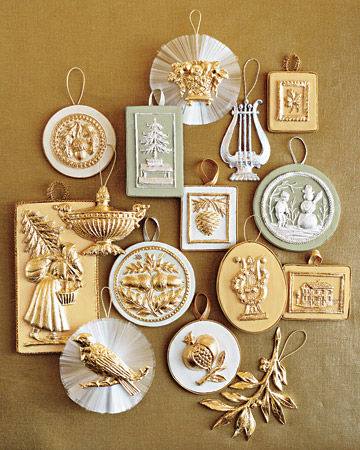 Refined metallic ornaments were inspired by Martha's collections of Wedgewood drabware, jasperware, and Old Paris porcelain. (marthastewart.com)