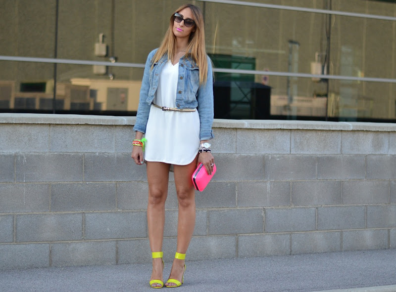 Neon details, Zara white dress, Denim jacket, Neon, Zara clutch
