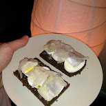 Icelandic Herring filet on Rye in Toronto, Ontario, Canada