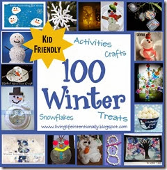 100 winter crafts, winter activities for kids, snowflakes for kids, and winter snacks.