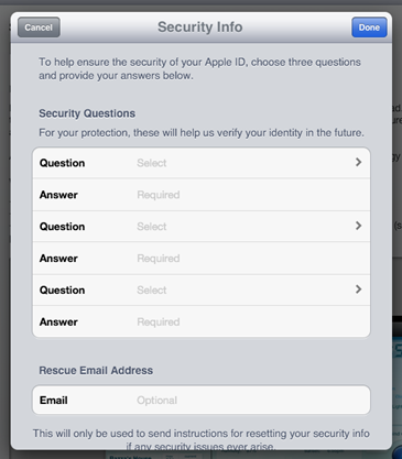 Multple secret question and answer pairs on the iPad