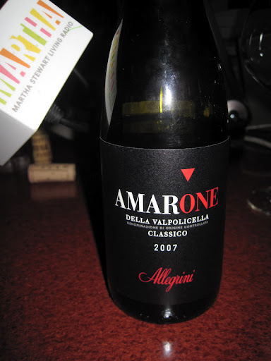 2007 Amarone della Valpolicella Classico. This velvety, full bodied wine, goes well with rich sauces, gamey meats, and blue cheese.