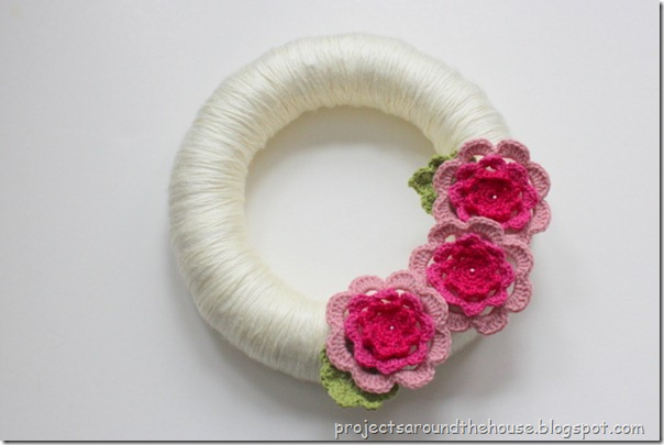 Yarn wrapped crochet flower wreath