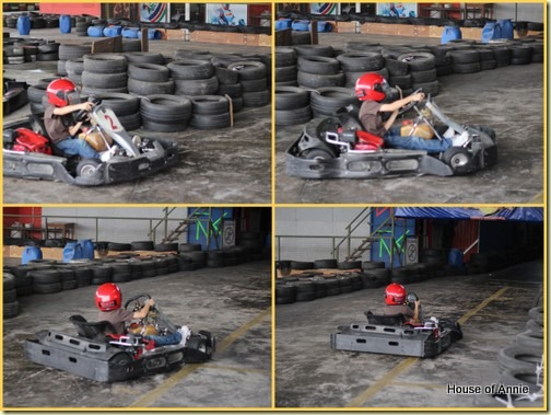 Daniel karting out of the S-turn to the straightaway