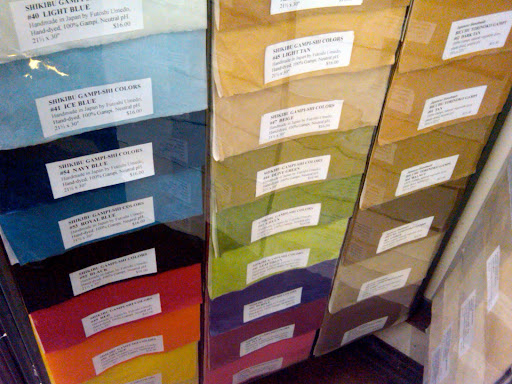 Here, gampi paper in a range of colors.