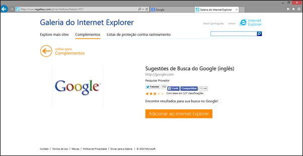 Na página do complemento, clique em Adicionar ao Internet Explorer