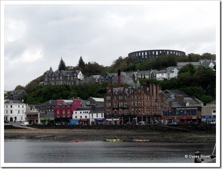 Oban township with the McCaig's Tower or Folly on Battery Hill.