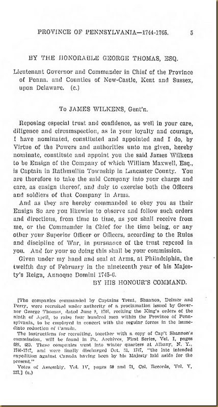 Pennyslvania Archives Series 5 Volumne I Officers and Soliders in the Service of the Providence of Pennsylvania 1744-1765 Page 5