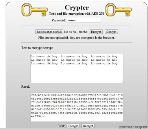 Encriptar texto Usando Chrome