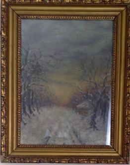 Peisaj de iarna pictat de Aurelia Chirila
