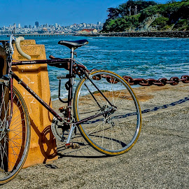 Parked at the Point by Barbara Brock - Transportation Bicycles ( bike, san francisco bay, ocean, fort point, san francisco, bicycle )
