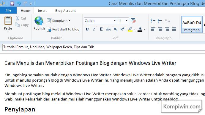 cara menggunakan windows live writer