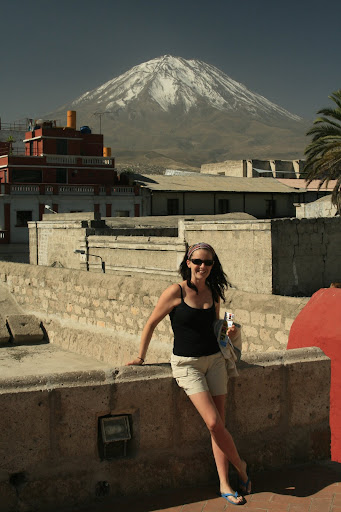 My gorgeous wife, with the volcano El Misti in the background.