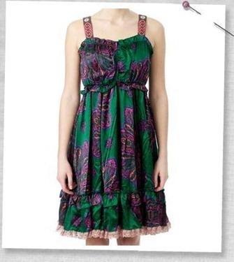 #058 A-one silk strapdress dark green