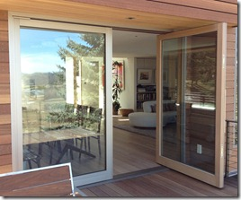 alumuminum clad double pivot door open