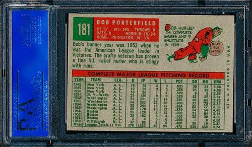 1959 Topps 181 Bob Porterfield back