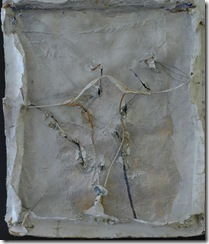 John Luna - Canyon_verso - oil. beeswax. chalk. gilding leaf and aluminium foil on burlap mounted on papier mache with acrilyic