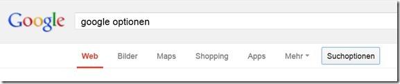 GoogleSuchoptionen unter der Suchleiste
