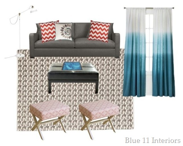 Gray, coral, and blue living room