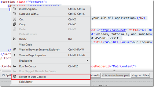 Extract to user control feature- What's new in visual studio 11 features
