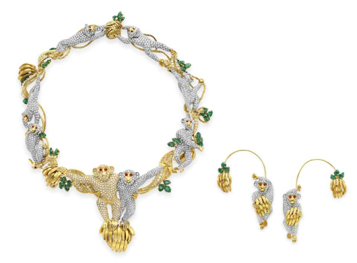 A Suite of Diamond and Multi‐Gem Monkey Jewelry by Massoni. From the collection of the Baron and Baroness di Portanova. Gift from Michael Jackson Purchased from Christie's, New York, October 2000. Estimate: $60,000‐$80,000