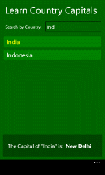 Learn Country Capital app in Windows Phone Store
