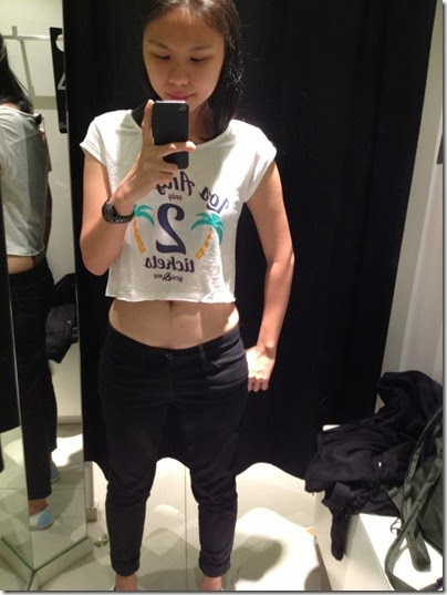 Bershka cropped white tee