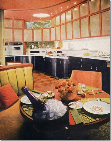 This is a kitchen to delight the eye and fire the imagination, for it is elegant, functional, and easy to maintain. Counters, base cabinets, and exposed wall areas are of plastic laminate. Featured in the February 1962 issue.