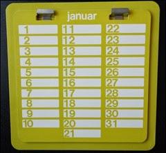 Yellow perpetual calendar front