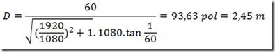 Equação para distância ideal da televisão - 60 polegadas em Full HD