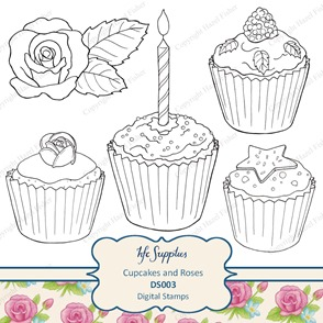 DS003 etsy 1 cupcakes and roses digital stamp