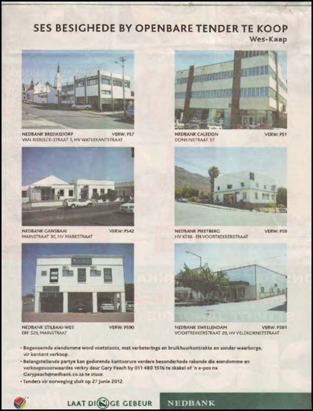 NEDBANK WEST CAPE SELLING PROPERTIES DIE BURGER P8 AKTUEEL SAT 19 MAY 2012
