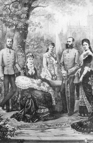 Rudolf, Stephanie con Erzsi en brazos, Valerie, Franz Joseph y Elisabeth kaiserfamille.