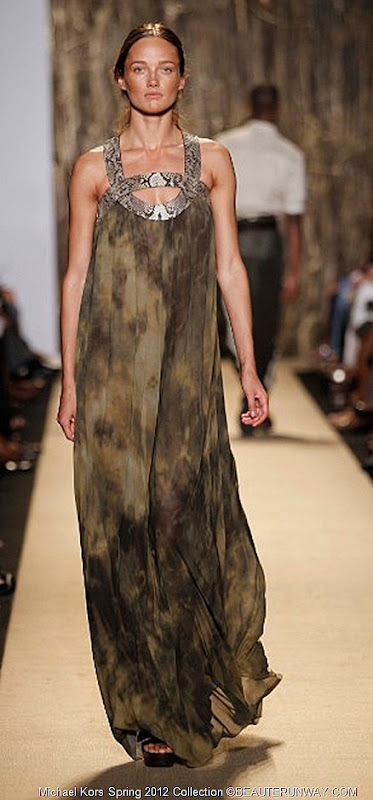 MICHAEL KORS 2012 SPRING COLLECTION OLIVE TIE DYE CHIFFON JERSEY COLUMN