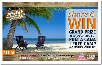 Click to Enter to Win Trip for Two to Punta Cana + Free Camp + Mabel's Labels Kit