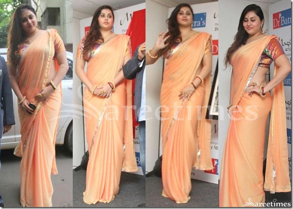 Namitha_Peach_Plain_Saree