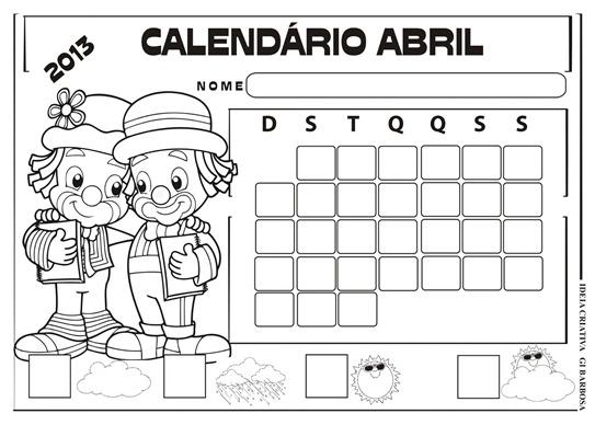 calendário patati patata para colorir sem numeração