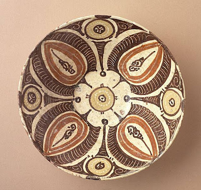Bowl Iran, Nishapur or Turkestan, Afrasiyab Bowl, 10th century Ceramic; Vessel, Earthenware, underglaze slip-painted, 2 3/4 x 7 3/4 in. (6.99 x 19.69 cm) The Nasli M. Heeramaneck Collection, gift of Joan Palevsky (M.73.5.186) Art of the Middle East: Islamic Department.