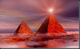 piramides feixes de luzes