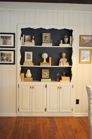 navy back bookcase