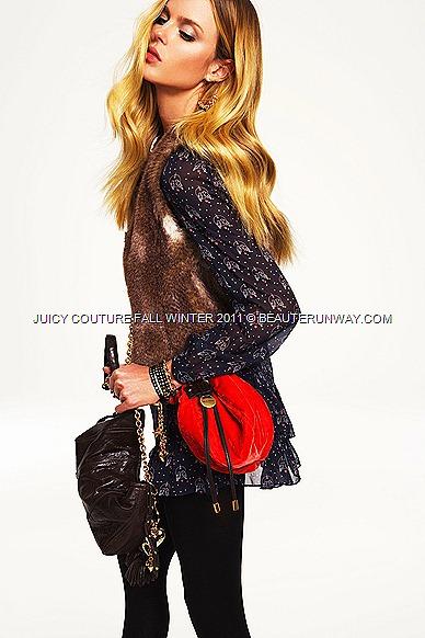 "JUICY COUTURE Fall Winter 2011 ""Lovebirds"" print dress faux fur vest"