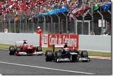 Maldonado davanti ad Alonso nel gran premio di Spagna 2012