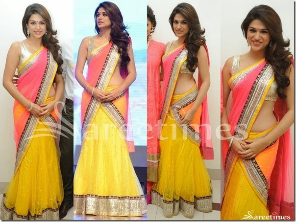 Shraddha_Das_Pink_Yellow_Half_Saree